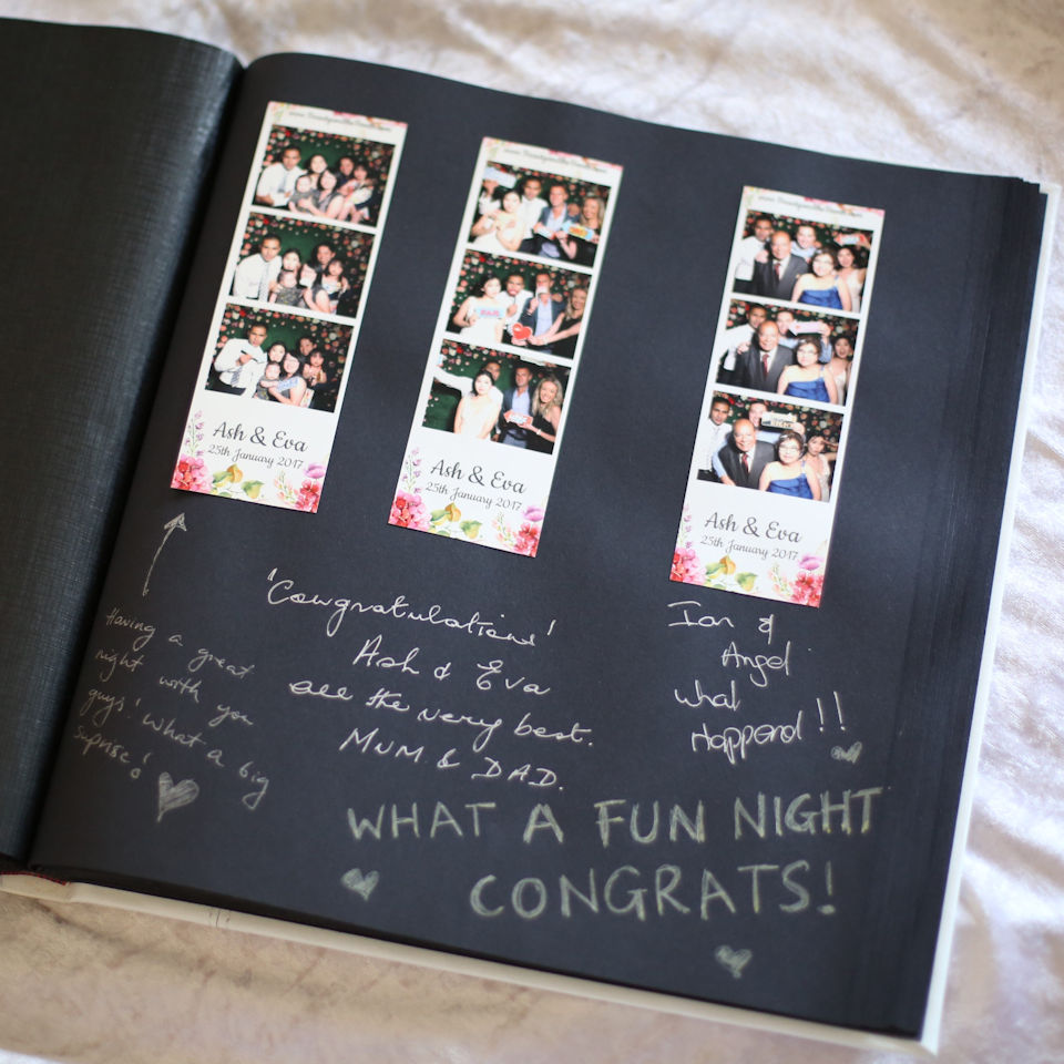 Our attendant will paste one copy of the strips into the album so guests can write a message. A perfect keepsake!